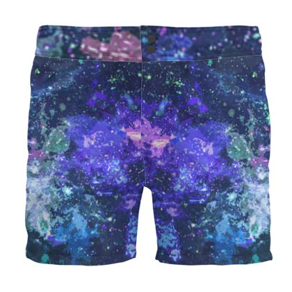Board Shorts - Purple Nebula Galaxy Abstract