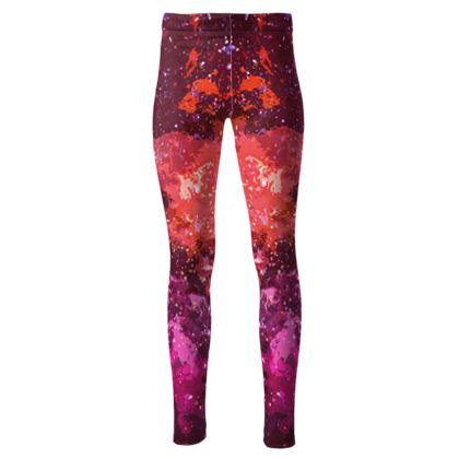 High Waisted Leggings - Red Nebula Galaxy Abstract