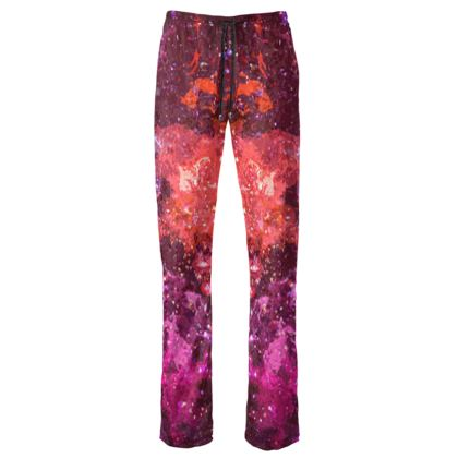 Womens Trousers - Red Nebula Galaxy Abstract