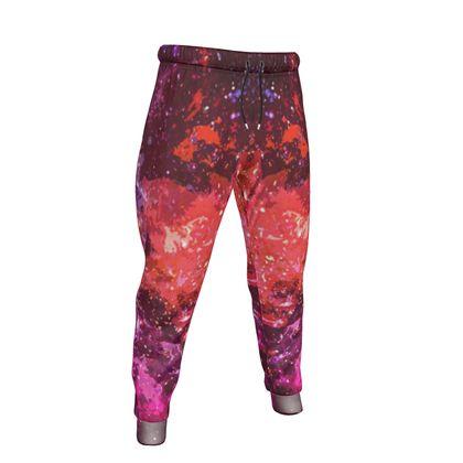 Mens Jogging Bottoms - Red Nebula Galaxy Abstract
