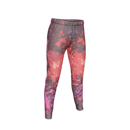 Womens Jogging Bottoms - Red Nebula Galaxy Abstract
