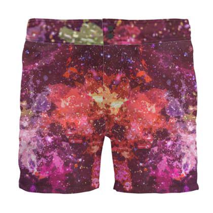 Board Shorts - Red Nebula Galaxy Abstract