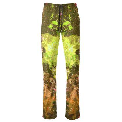 Womens Trousers - Yellow Nebula Galaxy Abstract