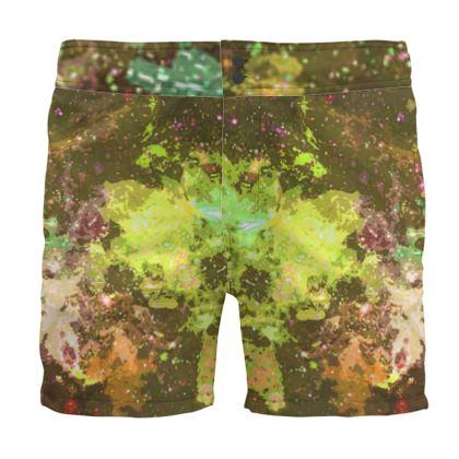 Board Shorts - Yellow Nebula Galaxy Abstract