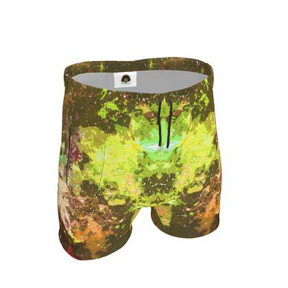 Mens Sweat Shorts - Yellow Nebula Galaxy Abstract