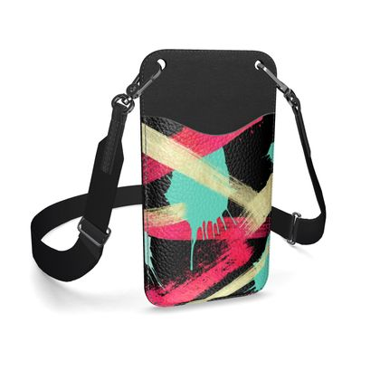 Leather Phone Case With Strap Graffiti Glow
