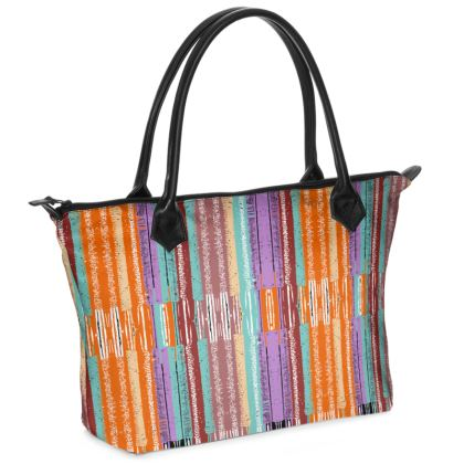Lines Orange Zip Top Handbag