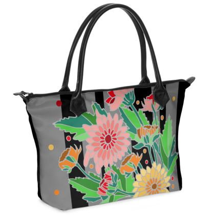 Chrysanthemums Dark Stripe Zip Top Handbag