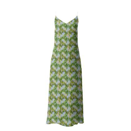 Slip Dress Green, Blue, Floral  Fuchsias  Newt