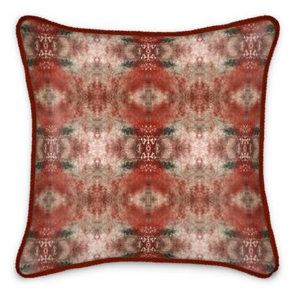 Red Texture Damask Silk Cushion