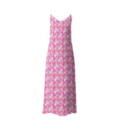 Slip Dress Pink, Yellow, Floral  Fuchsias  Cherry Cake