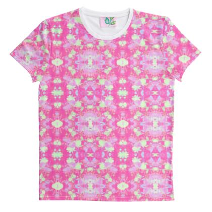 Cut And Sew All Over Print T Shirt Pink, Yellow, Floral  Fuchsias  Cherry Cake