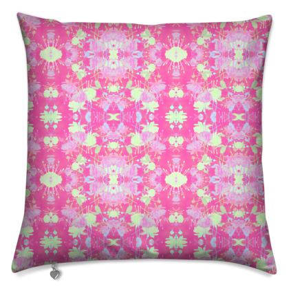 Cushions [40 cm with polyester pad shown], Pink, Yellow, Floral  Fuchsias  Cherry Cake