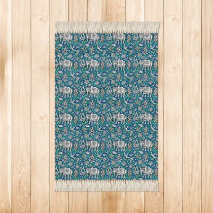 Oriental 'Elephant' Rug in Blue and Green.