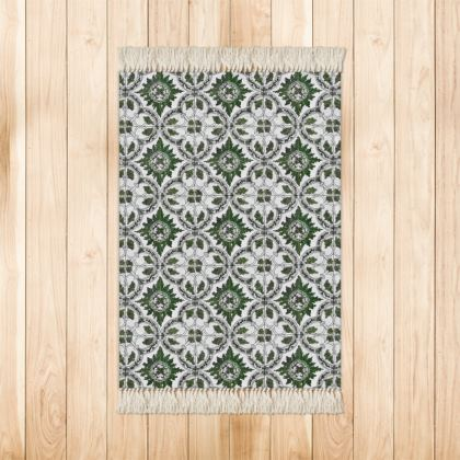 'Majolica' Rug in Green and White