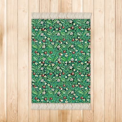 'Strawberries' Rug in Red and Green