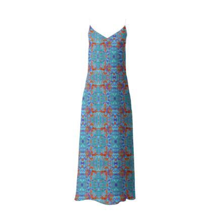 Slip Dress Blue, Orange, Floral  Lily Garden  Royal