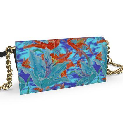 Oana Evening Bag Blue, Orange, Floral  Lily Garden  Royal