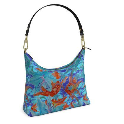 Square Hobo Bag, Blue, Orange, Floral  Lily Garden  Royal