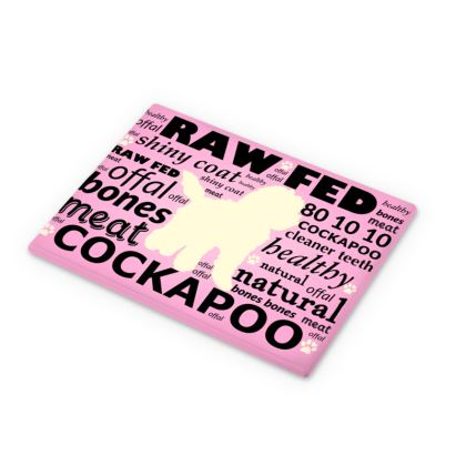 Cutting Boards pink with cream cockapoo