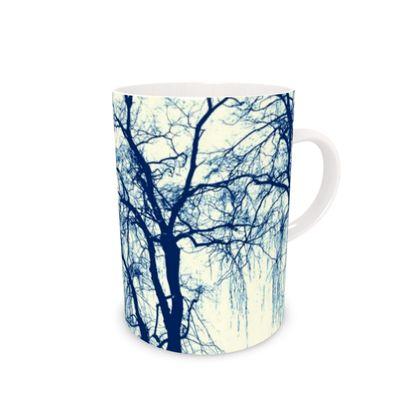 Bone China Mug with Blue Trees print