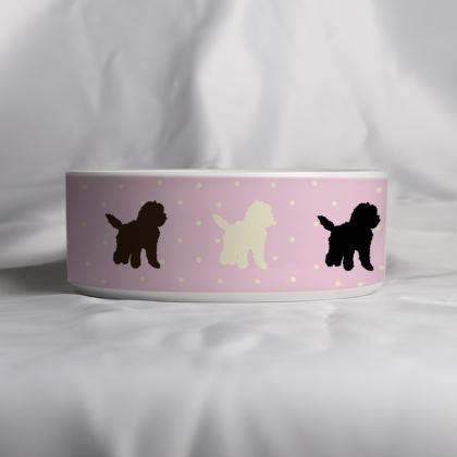 Ceramic Bowls - pink spot Cockapoo design