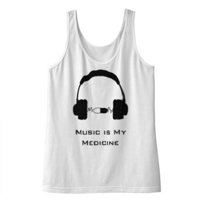 Ladies Vest Top - Music Is My Medicine