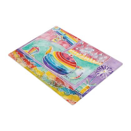 Rainbow Teapot small glass chopping board (28.5x20cm)