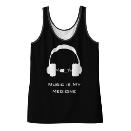 Ladies Vest Top - Music Is My Medicine  (White Text)
