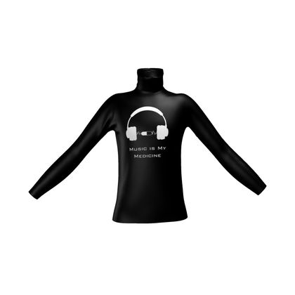 Mens Slim Fit Roll Neck - Music Is My Medicine  (White Text)