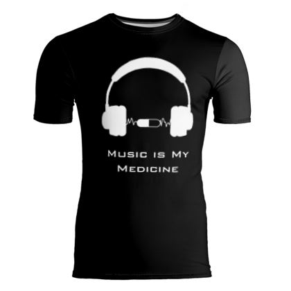 Slim Fit Mens T-Shirt - Music Is My Medicine  (White Text)