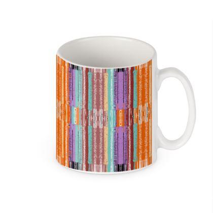 Orange Lines Pattern Ceramic Mug