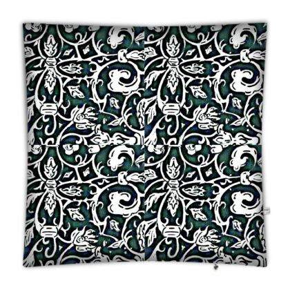 'Victoriana' Floor Cushion in Black,White and Green