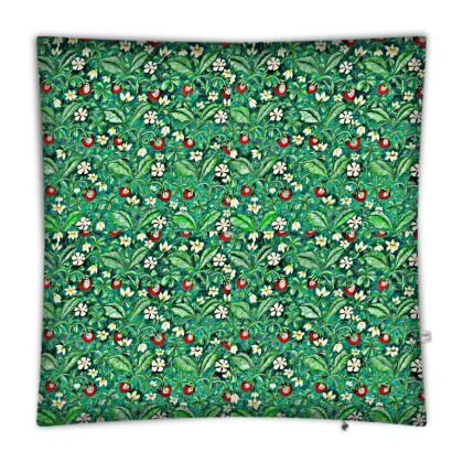 'Strawberries' Floor Cushion in Green and Red
