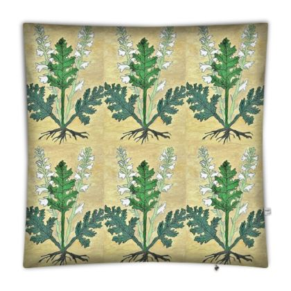 'Acanthus' Floor Cushion in Cream and Green