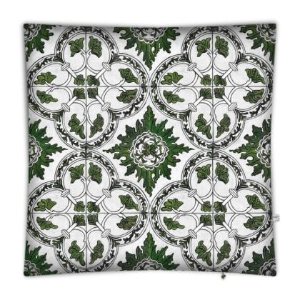 'Majolica' Floor Cushion in Green and White