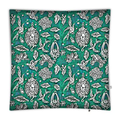 'Fantasia' Floor Cushion in Green and White