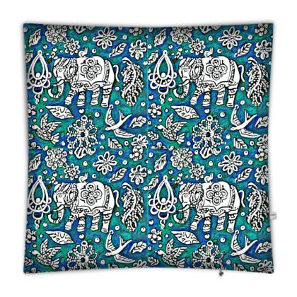 Oriental 'Elephant' Floor Cushion in Blue and Green