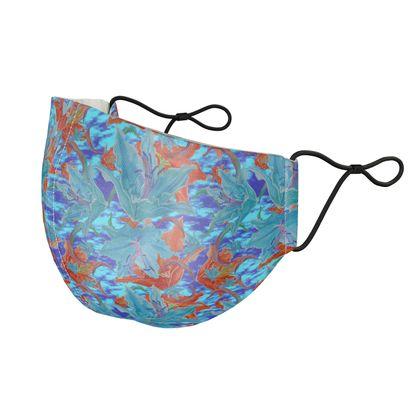 Silk Face Masks Blue, Orange, Floral  Lily Garden  Royal