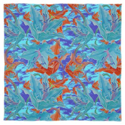 Scarf Wrap Or Shawl Blue, Orange Floral  Lily Garden  Royal