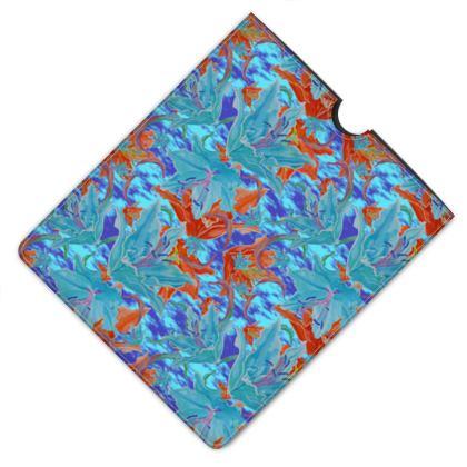 Leather I Pad Case Blue, Orange, Floral  Lily Garden  Royal