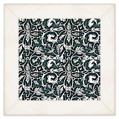 'Victoriana' Double Quilt in Black,White and Green