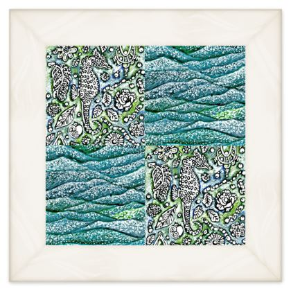 'Underwater' Double Quilt in Blue and Green