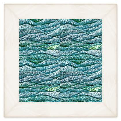 'Ocean Waves' Double Quilt in Blue and Green