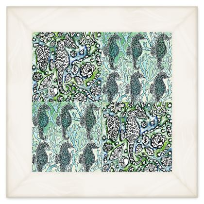 'Seahorse II' Double Quilt in Blue and Green