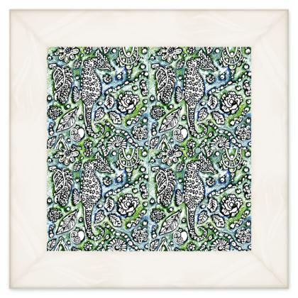 'Seahorse' Double Quilt in Blue and Green