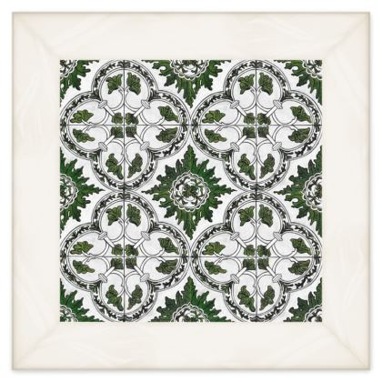 'Majolica' Double Quilt in Green and White