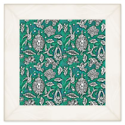 'Fantasia' Quilt in Green and White