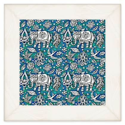 Oriental 'Elephant' Double Quilt in Blue and Green