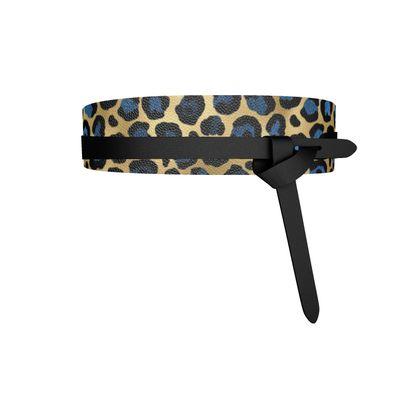 blue gold leopard print